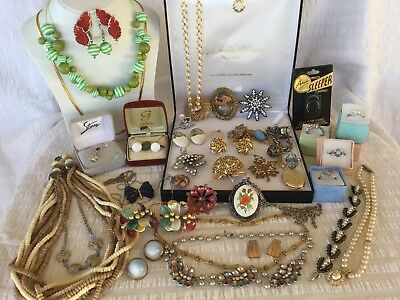Bulk Collection of Vintage Jewellery #B necklace rings earrings brooches & More
