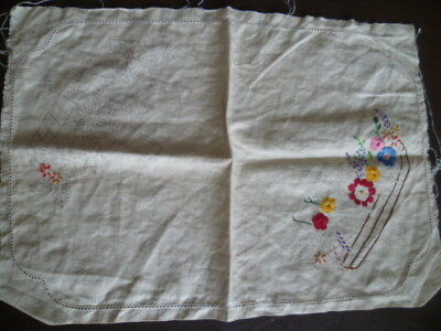 Vintage Pure Linen Doiley Traced Stamped to Complete Embroider Flowers Fautleys