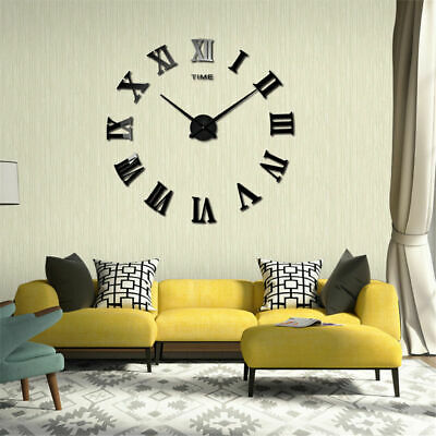 DIY 3D Wall Mute Clock Roman Numerals Large Mirrors Surface Sticker Living Room