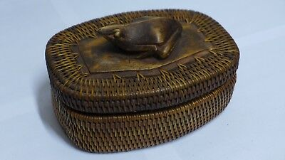 Indonesian / Balinese Handcrafted Wooden Carved Frog Toad Lombok Container Box