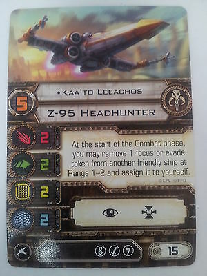 "Star Wars X Wing Miniature Game Mercenary ""Kaa'td Leeachos"" Z-95 Headhunter Card"