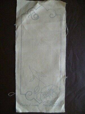 Vintage Traced Linen Stamped to Embroider Poppies Doiley Bookmark Wall Art Panel