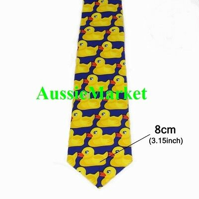 1 x mens ladies tie necktie rubber ducks bird yellow blue novelty fancy dress