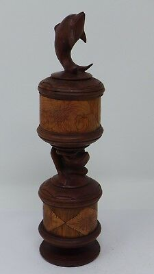 Indonesian / Balinese Handcrafted Wooden Carved Dolphin Frog Lombok Container