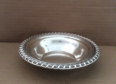 "L@@k Old VINTAGE SILVER PLATE DISH CANDY NUT BOWL RIBBED 6 1/2"" Dia"