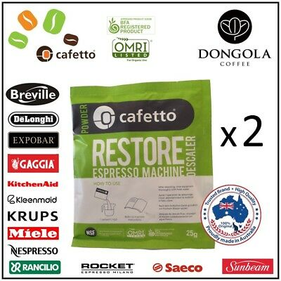 2 x RESTORE DESCALER Espresso Coffee Machine & Equipment Cleaner by CAFETTO 25g