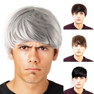 Handsome Quiff Wigs for Men's Male Black Short Wavy Hair Wig Cosplay Props