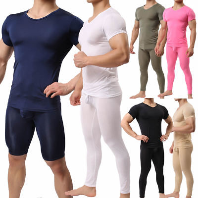 Mens Compression Armour Base Layer Skin T-Shirt Tight Short Long Pants Athletic