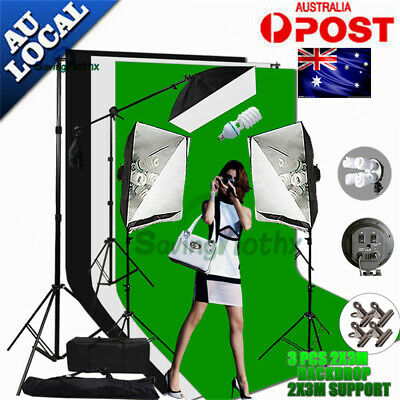 Studio Backdrop Continuous Lighting Softbox Boom Arm Light Stand Photography KiT