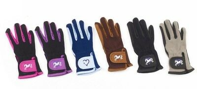 (A (8-10 Yrs), Sky Blue/navy Trim) - Ovation Child Heart & Horse Gloves