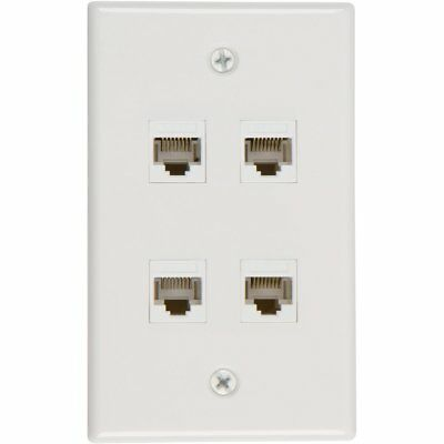 Ethernet Wall Plate 4 Port Cat6 Ethernet Cable Wall Plate Adapter