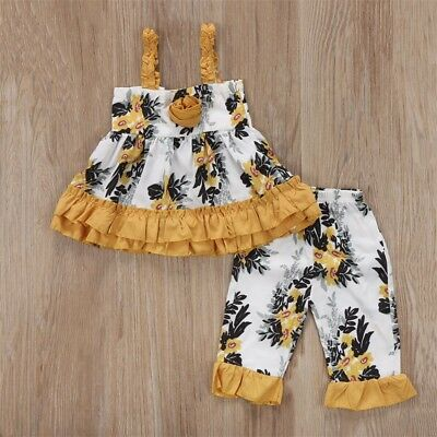 AU Newborn Toddler Kids Baby Girl Outfit Clothes T-shirts Dress+Floral Pants Set