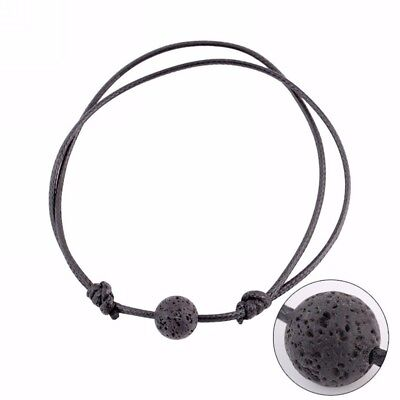 Black Lava Stone Rock Beads Essential Oil Diffuser Leather Bracelet Adjustable