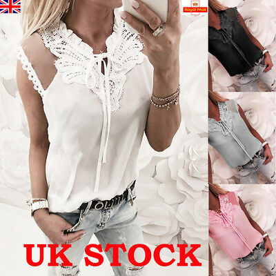 Womens Summer Chiffon Lace Tops Vest Ladies Sleeveless Loose T Shirt Blouse 6-20