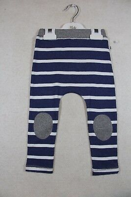 Baby Boy Size 000,1,2 Bebe Summer Blue Marle Striped Pants With Patches NWT