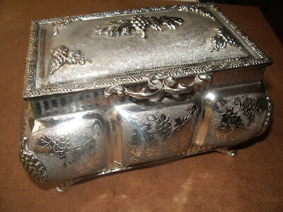 SOLID SILVER TEA CADDY,925 SILVER c.1900 very heavy 706 grams,grapes and vines.