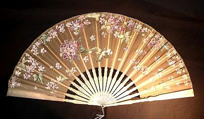 Antique Victorian Hand Fan Bone Carved Silk with painting of flowers France 1900