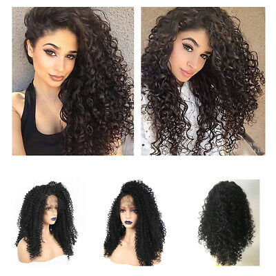 US SHIP Black Womens Africa Wave Curly Lace Synthetic Front Wig With Baby Hair