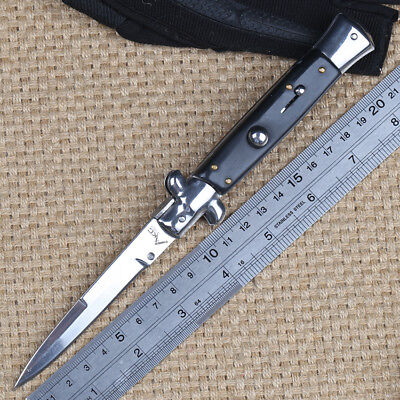 Cool black handle stainless steel sharp blade smooth opening folding camp knife