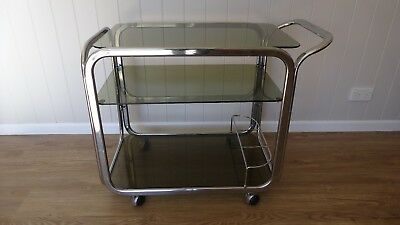 Vintage Retro 1950s / 1960s Chrome and Black Glass Drinks Trolley