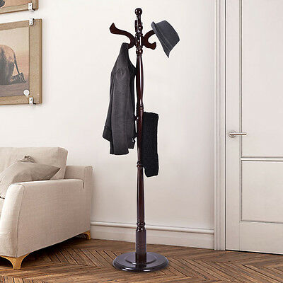 "71"" Free Standing Solid Wood Coat Hat Rack Hanger Tree Stand Home Furniture New"