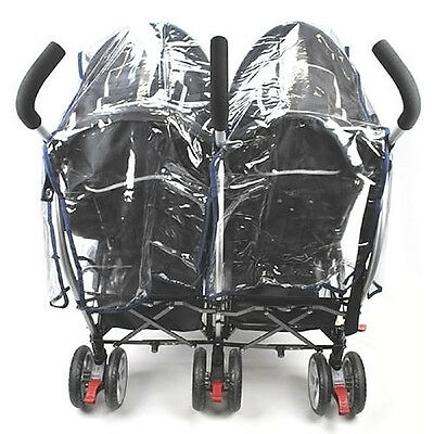 Buggy Pushchair Stroller Double Side-by-side Pram Clear Rain Cover Baby s