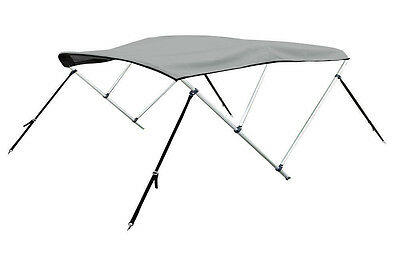 """New Bimini 3 Bow Top Boat Cover Gray 79""""-84"""" With Rear Poles & Integrated Sock"""
