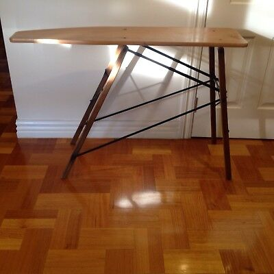 Vintage Antique Wooden Ironing Board with Folding Metal Frame