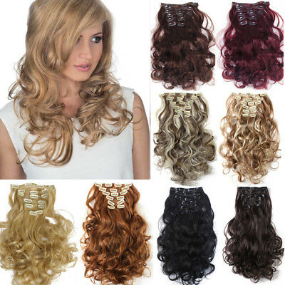 8Pcs 22'' Long Curly Wavy Clip in Hair Extensions SyntheticThickness Hairpieces