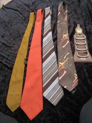 Retro funky mens ties x4 & retro hanging tie holder gr8 colours and patterns