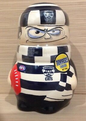 AFL Geelong Cats Football Ceramic Toffee Jar/Container - Full & Unopened/Sealed