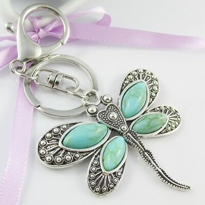 Turquoise Dragonfly Charm Keychain Keyring 115mm