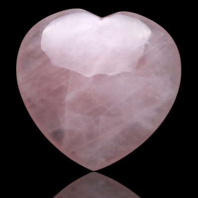 """1.7"""" Pink Rose Quartz Carved Crystal Love Puffy Heart Stone 1 Piece"""