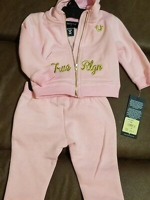 cf8c1be8a TRUE RELIGION BABY GIRL 2PC PINK HOODIE SWEAT PANTS JOG TRACKSUIT SET 9m  Bae Boo