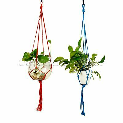 Vintage Plant Pot Hanger Braided Macrame Holder Flower Basket Boxes Ideal gift