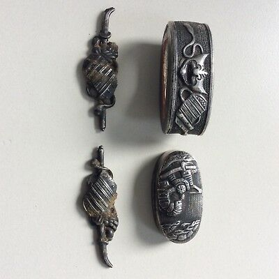 Fuchi kashira and menuki, vintage made from silver colored metall, sode and memp