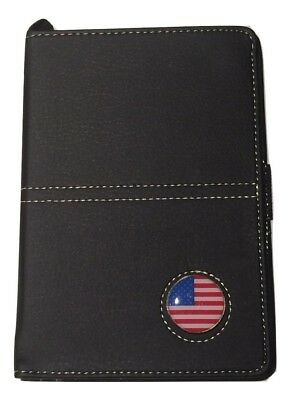 (Black) - Golf Leather Scorecard Holder and Yardage Book Cover with Ball Marker