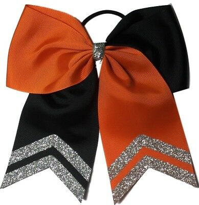 17cm Softball Hair Bow Black and Orange with Silver Glitter Tips. All Sport