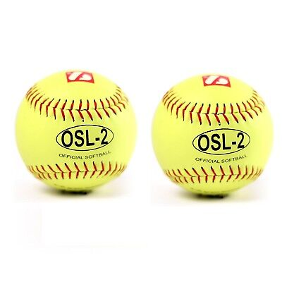 OSL-2 full grain leather neon softball ball, size 30cm , yellow with red