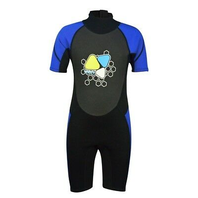 (6, Blue) - Kids Wetsuits 2mm Neoprene shorty wetsuit for Boys Girls One Piece
