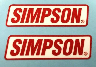 2 x SIMPSON 'R' Red on White Helmet Stickers/Decals 50mm - Printed and Laminated