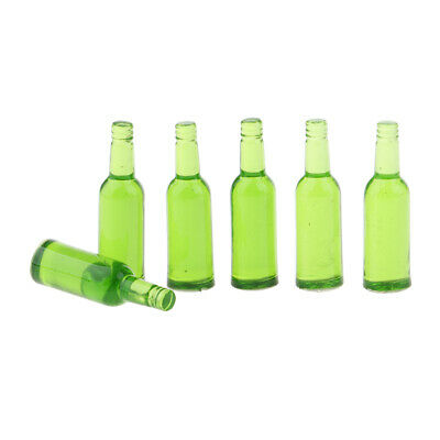 6PCS Doll Kitchen Decoration Mini Green Drink Beer Bottle for 1/12 Dollhouse