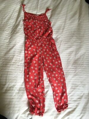 Cute Girls Red Playsuit with Pink Strawberries by M&S 4-5 yrs