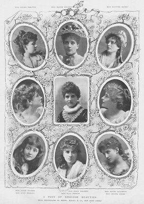 Victorian Ladies A Posy of English Beauties - Antique Print 1892