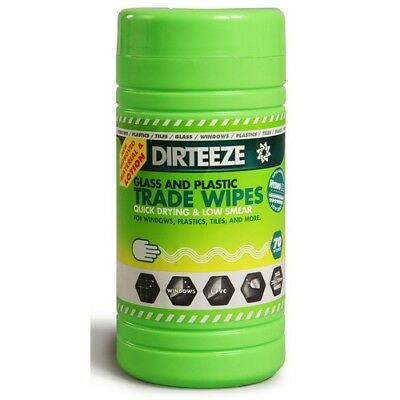 Dirteeze Glass and Plastic Trade Wipes Tub of 70