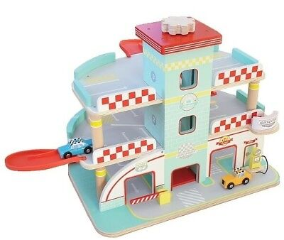 Indigo Jamm Wooden Retro Styled Race Car Garage with 3 Levels