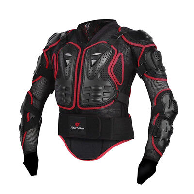 Motorcycle Full Body Protective Armer Jacket Spine Chest Protection Red XL