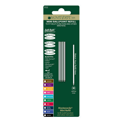 Monteverde Mini Ballpoint Refill to Fit Multi Functional Pen Black M 20 pcs D132