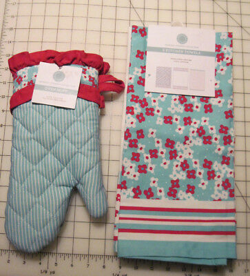 NEW MARTHA Stewart 3 piece kitchen towels and matching oven ...