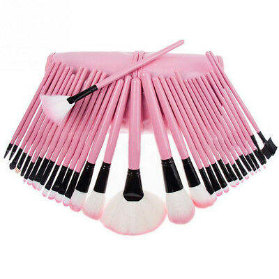 32* Professional Soft Cosmetic Eyebrow EyeShadow Makeup Brush Tool Kit Pink